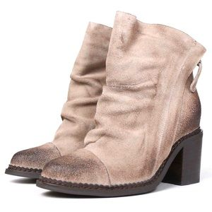 Sbicca tan suede heeled bootie distressed Millie 9